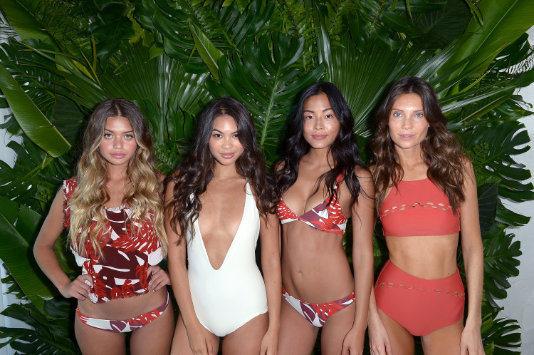 MIAMI, FL - JULY 17: Models pose at the MIKOH 2017 Collection at Miami Swim Week at 1 Hotel South Beach on July 17, 2016 in Miami, Florida. (Photo by Gustavo Caballero/Getty Images for MIKOH )