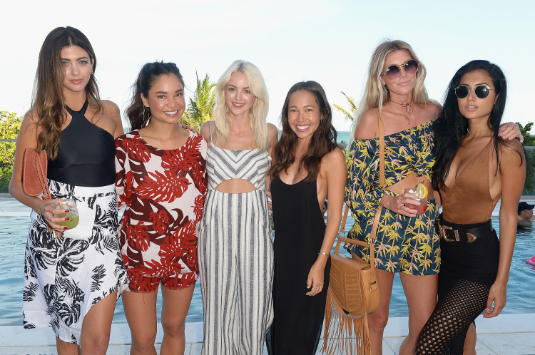 MIAMI, FL - JULY 17: (L-R) Kelsey White, Oleema Miller, Kaitlynn Carter, Kalani Miller, Halley Elefante, and Racquel Natasha attend MIKOH 2017 Collection at Miami Swim Week at 1 Hotel South Beach on July 17, 2016 in Miami, Florida. (Photo by Gustavo Caballero/Getty Images for MIKOH )